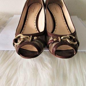 d89d181f4 Coach Shoes - Coach STELLA brown tan wedge heels 6 B